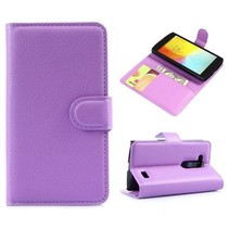 Paarse lychee Bookcase hoes LG L Fino