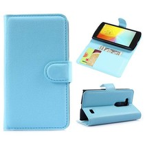 Blauwe lychee Bookcase hoes LG L Fino