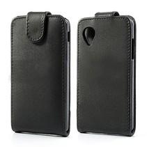 Zwart faux lederen Flip Case hoesje LG Nexus 5