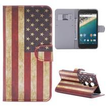 Amerikaanse Vlag Bookcase Hoesje LG Nexus 5X
