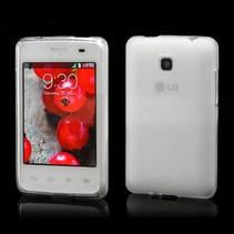 Mat wit/transparant TPU hoesje LG Optimus L3 II