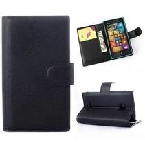 Zwarte lychee Bookcase hoes Microsoft Lumia 532