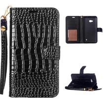 Zwart Krokodillen Bookcase Hoesje Microsoft Lumia 550