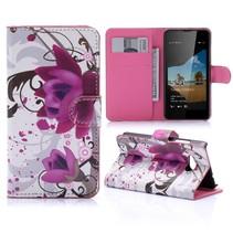 Paarse Bloem Bookcase Hoesje Microsoft Lumia 550