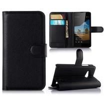 Zwart Litchi Bookcase Hoesje Microsoft Lumia 550