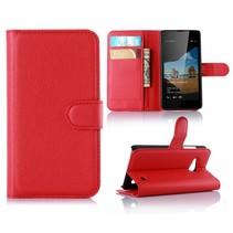 Rood Litchi Bookcase Hoesje Microsoft Lumia 550