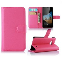 Roze Litchi Bookcase Hoesje Microsoft Lumia 550