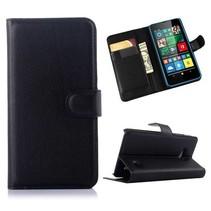 Zwarte lychee Bookcase hoes Microsoft Lumia 640
