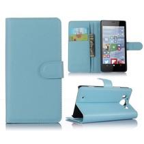 Blauw Litchi Bookcase Hoesje Microsoft Lumia 950