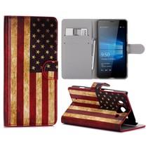 Amerikaanse Vlag Bookcase Hoesje Microsoft Lumia 950