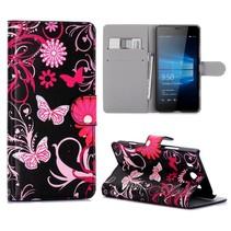 Roze Vlinders Bookcase Hoesje Microsoft Lumia 950