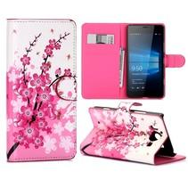 Roze Bloesem Bookcase Hoesje Microsoft Lumia 950