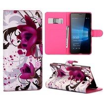 Paarse Bloem Bookcase Hoesje Microsoft Lumia 950
