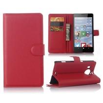 Rood Litchi Bookcase Hoesje Microsoft Lumia 950 XL