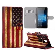 Amerikaanse Vlag Bookcase Hoesje Microsoft Lumia 950 XL