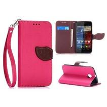 Roze leaf Bookcase hoes Motorola Moto X (2nd Gen)