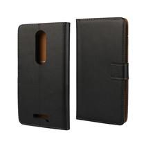 Zwart Leder Bookcase Hoesje Motorola Moto X Force