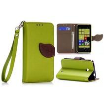 Groene leaf Bookcase hoes Nokia Lumia 630 / 635