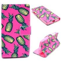 Roze ananas Bookcase hoes Nokia Lumia 630 / 635