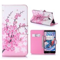 Roze Bloesem Bookcase Hoesje OnePlus 3