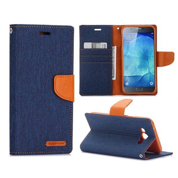 Canvas blauwe Booktype  hoes Samsung Galaxy A8