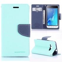 Diary Series Cyaan Bookcase Hoesje Samsung Galaxy J1 2016