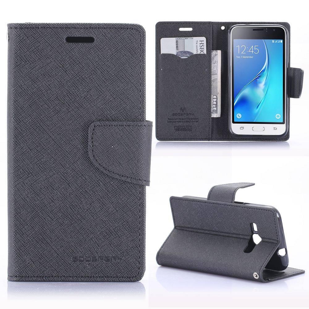 Diary Series Zwart Bookcase Hoesje Samsung Galaxy J1 2016