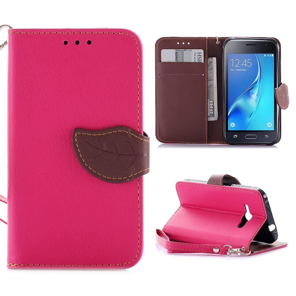 Roze Blad Design Bookcase Hoesje Samsung Galaxy J1 2016