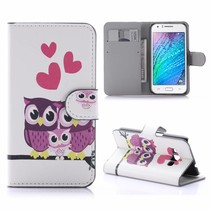 Uil Familie Bookcase Hoesje Samsung Galaxy J1 2016