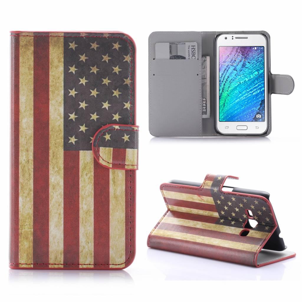Amerikaanse Vlag Bookcase Hoesje Samsung Galaxy J1 2016