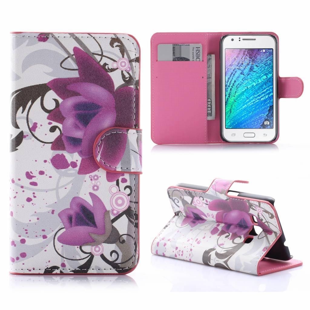 Paarse Bloem Bookcase Hoesje Samsung Galaxy J1 2016