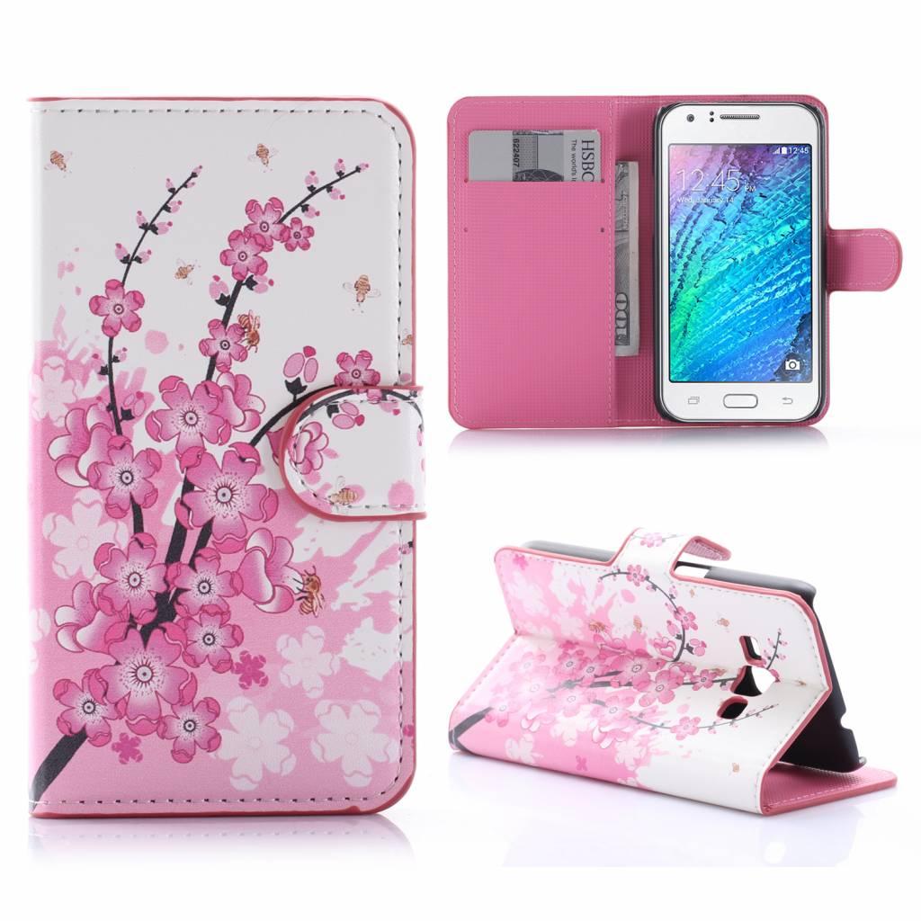 Roze Bloesem Bookcase Hoesje Samsung Galaxy J1 2016