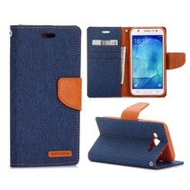 Canvas blauwe Bookcase hoes Samsung Galaxy J5