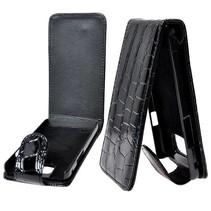 Zwart Flip Case hoesje van krokodillenleer Samsung Galaxy S2