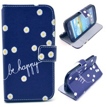 Be happy & Bloemetjes book case Samsung Galaxy S3 (Neo)