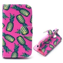Ananas roze Bookcase hoes Samsung Galaxy S3 Mini