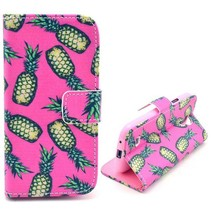 Ananas roze Booktype  hoes Samsung Galaxy S4 mini