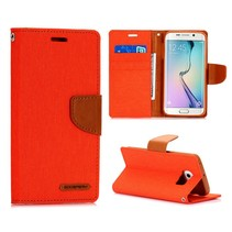Oranje canvas Booktype  hoes Samsung Galaxy S6 Edge