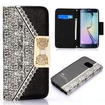 Gouden strik book case zwart Samsung Galaxy S6 Edge
