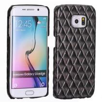 Zwart diamantstructuur hardcase hoesje Samsung Galaxy S6 Edge