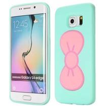 Roze 3D strikje hoesje Samsung Galaxy S6 Edge
