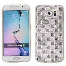 Zilveren diamantgrid TPU hoesje Samsung Galaxy S6 Edge