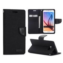 Canvas zwart Bookcase hoes Samsung Galaxy S6 Edge Plus