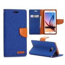 Canvas blauw Bookcase hoes Samsung Galaxy S6 Edge Plus