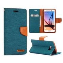 Canvas groen Bookcase hoes Samsung Galaxy S6 Edge Plus
