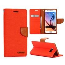 Canvas oranje Bookcase hoes Samsung Galaxy S6 Edge Plus