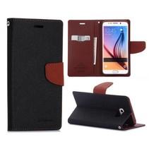 Fancy diary zwart / bruin Booktype  hoes Samsung Galaxy S6 Edge Plus