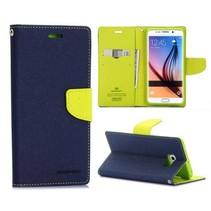 Fancy diary blauw / groen Booktype  hoes Samsung Galaxy S6 Edge Plus
