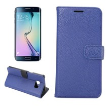 Blauwe lychee Bookcase hoes Samsung Galaxy S6 Edge Plus