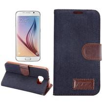 Zwarte stoffen Bookcase hoes Samsung Galaxy S6